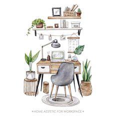Interior Design Renderings, Drawing Interior, Interior Sketch, Watercolor Illustration, Watercolor Paintings, Collage Kunst, Aesthetic Art, Designs To Draw, Art Drawings