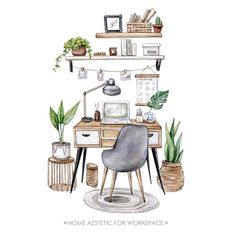 Home office-Work home Workspace Watercolor digital clipart | Etsy Watercolor Illustration, Watercolor Paintings, Interior Design Sketches, Interior Architecture Drawing, Creation Deco, Aesthetic Art, Cozy House, Designs To Draw, Room Decor