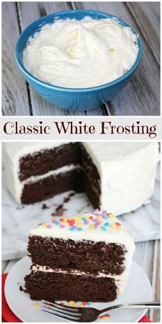 Recipe for classic White Frosting- the most perfect, best, easy frosting recipe for cakes and cupcakes. White Frosting Recipes, Homemade Frosting, Vanilla Buttercream Frosting, White Icing Recipe For Cake, Vanilla Frosting Recipe Vegan, Best White Frosting Recipe, Frosting For White Cake, Frosting Without Powdered Sugar, Not Too Sweet Frosting