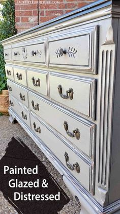 Dresser painted, glazed and distressed in distressed Aspen Gray and Black Glaze. Distressed Furniture, Reclaimed Furniture, Painted Furniture, Distressed Dresser, Refinished Furniture, Furniture Refinishing, Furniture Projects, Furniture Making, Furniture Makeover