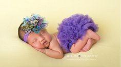 Purple Peacock Flower Satin Headband and Matching Purple Chiffon Ruffle Bloomers Set From Kemaily Boutique