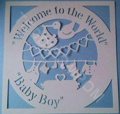 Bienvenue dans le monde bébé garçon naissance annonce Papercut, SVG coupe fichier cadre, modèle de conception, Papercutting, fabrication de cartes, numérique Télécharger