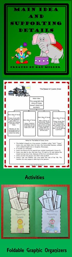 This Main Ideas and Supporting Details unit contains hands-on activities and foldable graphic organizers your students are sure to love. $