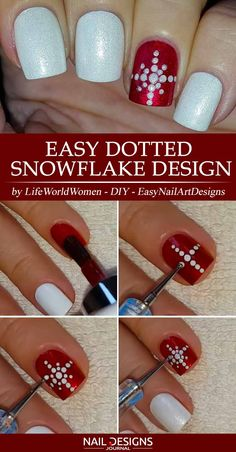cute nails trends Easy Dotted Snowflake Design ❤ Best Tutorials on Snowflake Nails Designs ❤ See mor Snowflake Nail Design, Snowflake Nails, Christmas Nail Designs, Christmas Nail Art, Great Nails, Cool Nail Art, Simple Nails, Cute Nails, Simple Nail Designs
