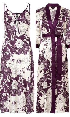 43c1b01841 Nightdress. Gaspe Purple Oriental Print Satin Nightdress   Wrap Set 10 12 12  14 16 18 20 22