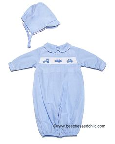 Petit Ami Baby Boys Light Blue Micro Check Convertibag Romper / Sack with Smocked Train / Plane / Car and Hat