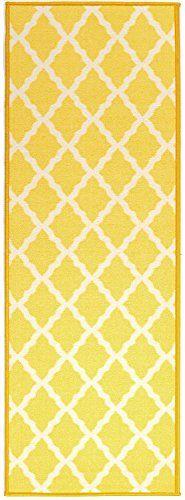 "Glamour Collection Yellow Contemporary Moroccan Trellis Design Runner Rug (20""x59"") Machine-Washable Non-Slip Kitchen and Bathroom Mat Rug by Ottomanson Ottomanson http://www.amazon.com/dp/B00PHU86QI/ref=cm_sw_r_pi_dp_dy8svb0SDABF6"