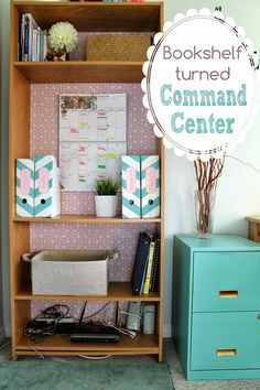 This is seriously too cute! Kathryn Ferrie converted a book shelf into a command center.  I am inspired! Curated by @websiteconfetti  onto www.websiteconfetti.com/commandcenters