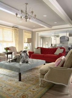 Bridge Street Residence Living Room - contemporary - living room - minneapolis - by Martha O'Hara Interiors Love the red sofa Grey Ceiling, Ceiling Fan, Ceiling Color, Ceiling Detail, Ceiling Trim, Ceiling Design, Paint Ceiling, Colored Ceiling, Bedroom Ceiling