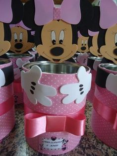 Minnie Mouse Cupcake Toppers, Minnie Mouse Birthday Decorations, Minnie Mouse Cake, Minnie Birthday, Miki Mouse, Deco Disney, Fiesta Mickey Mouse, Pot A Crayon, Tin Can Crafts