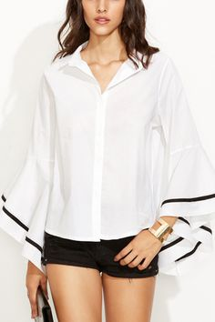 #fashion #women #maykool #flaresleeve #white #shirt #blouse