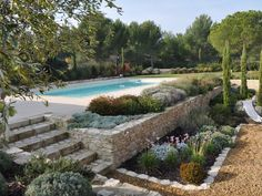 Location vacances villa St Rémy de Provence: and just enjoy ! Backyard Pool Designs, Swimming Pools Backyard, Swimming Pool Designs, Backyard Landscaping, Swimming Ponds, Back Gardens, Outdoor Gardens, Provence Garden, Pool Landscape Design