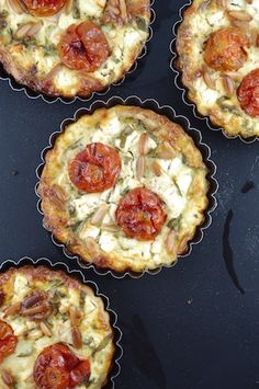 Roasted Cherry Tomato, Feta and Arugula Quiches
