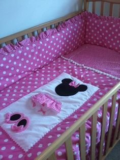 Minnie Mouse Pretty In Pink 6 Piece Nursery Set Baby Sewing Crib
