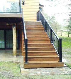 Custom deck stairs by Skyline Deck & Construction. Deck Construction, Deck Stairs, Custom Decks, Covered Decks, Idaho, Pergola, Skyline, Home Decor, Homemade Home Decor