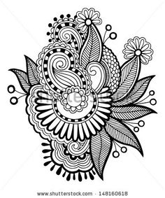 black line art ornate flower design, ukrainian ethnic style, autotrace of hand drawing, raster version