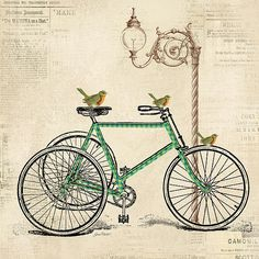 Enjoy the Ride Bicycle Art Art Print by Jean Plout. All prints are professionally printed, packaged, and shipped within 3 - 4 business days. Collages D'images, Foto Transfer, Vintage Bicycles, Vintage Bicycle Art, Art Pages, Vintage Images, Vintage Artwork, Art Gallery, Retro Vintage