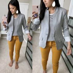 Grey blazer, mustard pants and striped shirt Casual Work Outfits, Blazer Outfits, Business Casual Outfits, Professional Outfits, Office Outfits, Work Attire, Sweater Outfits, Fall Outfits, Outfit Work