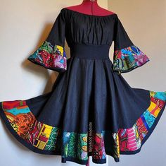 Dance With the Night - Short African Dress, Black Dress with Bright African Patchwork, Ooak Boho Patchwork Dress, Can fit S to L Short African Dresses, Latest African Fashion Dresses, African Print Dresses, African Print Fashion, Africa Fashion, Short Gowns, African Prints, African American Fashion, Ankara Fashion
