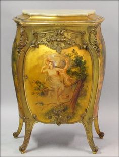 French parcel painted giltwood bombe commode.