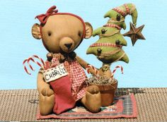 Happy Heart Charlize Brown Bear and Her Shabby Tree The Pattern Hutch stuffed cloth doll craft pattern teddy bear primitive