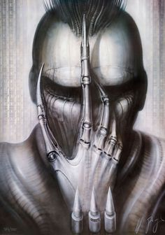 H.R. Giger So awesome - I'm inspired by this image so much and like the idea of almost blocking out the eyes in black to create an alien feel