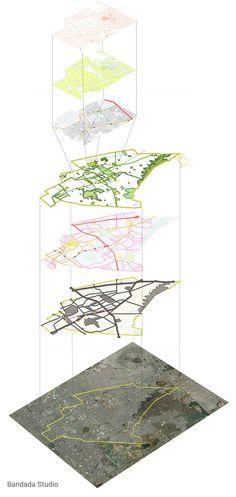 Architectural diagram. San Miguel Master Plan, Mexico City, by Bandada Studio.