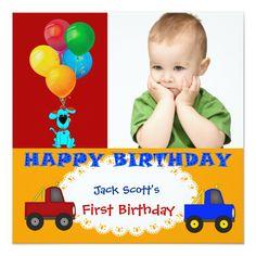 Baby Boy First Birthday Colorful Puppy Trucks Personalized Invitation Baby Boy 1st Birthday Party, 1st Birthday Party Invitations, Personalized Invitations, Custom Invitations, Invitation Paper, First Birthdays, Puppies, Trucks, Colorful