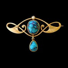 MURRLE BENNETT & Co. (1896-1914)   A gold brooch set with a central turquoise and small pearl, with a gold set   turquoise drop. Anglo/German c.1900. Marks for MB & Co. and 15 ct.  Size: Height 2.6 cm. Width 3.8 cm. (Brooch case)  Lit.: Art Nouveau Jewelry. Vivienne Becker. Liberty Style. Academy Editions.
