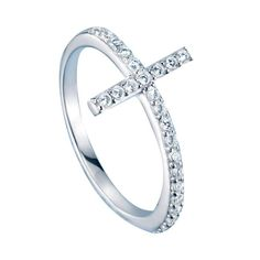 """Fashion forward faith. Sterling silver cz embellished ring with a cross on top. · Cross: Approx. 13/16"""" x 1/2"""" with 24 round CZs · Imported STERLING SILVER is the standard for fine silver jewelry in the world over. On sale now for 19.99!!"""