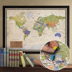 Weltenbummler aufgepasst: Die Straße ist Euer Zuhause? So richtig wohl fühlt Ihr Euch nur unterwegs? Dann führt Register mit dieser großen Weltkarte für Reiseziele. via www.monsterzeug.de