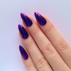 Red & Blue Chrome Stiletto nails, Nail designs, Nail art, Nails,... (€17) ❤ liked on Polyvore featuring beauty products, nail care, nail treatments, nails, makeup and fungal nail treatment