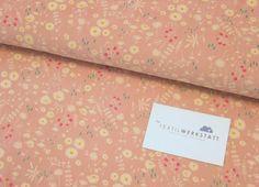 Babycord // Blumen // rosa von Textilwerkstatt //Christiane Colsman Textildesign  auf DaWanda.com