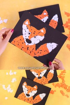 Paper Collage Fox Craft is a perfect little fall art project for your art class.