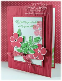 "by Julie Ldblanc, ""Kewl""stamps-n-more secret garden woodgrain embossing folder"