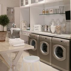 French Flavor Laundry Room Design In Bathroom Small