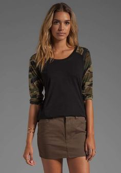 For REVOLVE Baseball Tee in Black/Camo on Wantering