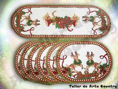 Bordado Liquido Individuales Panel Navidad * 7 - $ 126.000 en ... Ceramic Painting, Pot Holders, Christmas Time, Ceramics, Embroidery, Yule, Crossstitch, Hand Embroidery, Hall Pottery