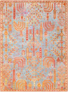 Antique Turkish Oushak Rug 47412 Detail/Large View - By Nazmiyal. Antique Turkish Oushak Carpet, Origin: Turkey, Circa: Turn of the Century Date, Interior Design Elements, Muted Colors, Kilim Rugs, Oushak Rugs, Detailed Image, Modern Rugs, Oriental Rug, Rugs On Carpet