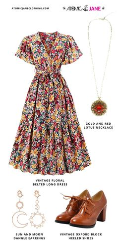 #Vintage #Floral Belted Long #Dress · Gold and Red Lotus #Necklace · Sun and Moon #DangleEarrings · Vintage #Oxford Block Heeled #Shoes 1950s Clothes, Women's Clothes, Clothes For Women, Burlesque Dress, Corsets Online, Plus Size Corset, Lotus Necklace, 1950s Outfits, Jane Clothing