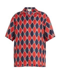 Gucci GG and diamond-print silk bowling shirt