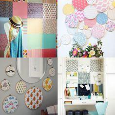 como decorar a parede com tecido e bastidores