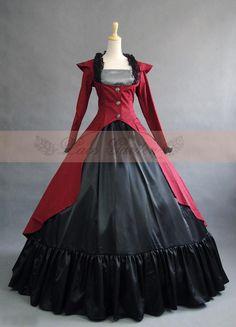 Noir Rouge Femmes Vintage Robes Bluestercool R/étro Gothique Robe /à Manches Longues Gown Dress Bleu Violet