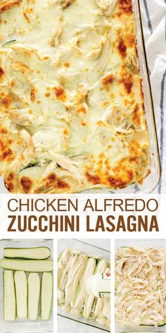 Low Carb and Keto Chicken Alfredo Zucchini Lasagna with alfredo sauce, ricotta, cheeses, chicken and zucchini slices. Easy to make and great for leftovers White Sauce Lasagna, White Chicken Lasagna, Chicken Alfredo Lasagna, Easy Chicken Lasagna Recipe, Cooked Chicken Recipes Leftovers, Zucchini Lasagna Recipes, Chicken Zucchini, Keto Chicken, Zuchinni Lasagna