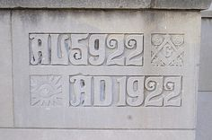 I like how the relief is carved out tight to the date...    Cornerstone: Masonic Temple--Detroit MI by pinehurst19475, via Flickr