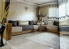 The living-room is an extremely important part of every Moroccan household. It's where families gather to share all of their meals, where th. Moroccan Living Room, Corner Furniture, Oriental Interior, Living Room Decor, Home Decor, Home Deco, Luxury Interior, Chill Room, Moroccan Furniture