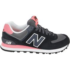 New Balance WL 574 Sneakers ($59) ❤ liked on Polyvore featuring shoes, sneakers, black rubber sole shoes, new balance, pink shoes, lace sneakers and round cap