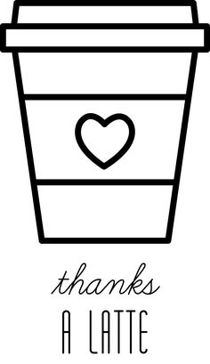 Thanks a latte - Coffee Icon - Ideas of Coffee Icon - FREE Digital Stamp Coffee cup Cute Food Drawings, Mini Drawings, Cute Little Drawings, Cute Kawaii Drawings, Doodle Drawings, Coffee Icon, Thanks A Latte, Easy Doodle Art, Cute Coloring Pages