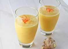 Carrot Ginger Smoothie (with OJ peaches) 150 cal per serving oj smoothies orange juice; Smoothie Jus D'orange, Orange Juice Smoothie, Peach Smoothie Recipes, Smoothie Drinks, Ginger Peach, Carrot And Ginger, Vegetable Smoothies, Healthy Smoothies, Pureed Food Recipes