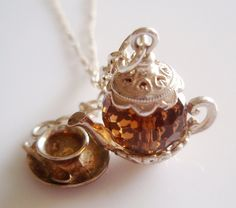 Vintage Silver Nuvo Teapot & Cup Charm Necklace by True Vintage Jewellery UK. £49.00, via Etsy.
